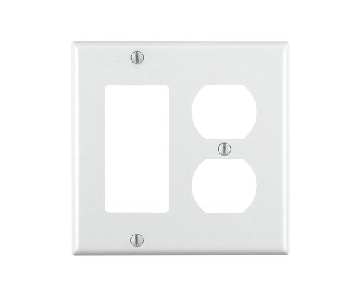 Leviton 80455-W Not Not Available W 2-Gang 1-Duplex 1-Decora/GFCI Combination Wallplate, Standard Size, Thermoset, Device Mount, 1-Pack, White ()