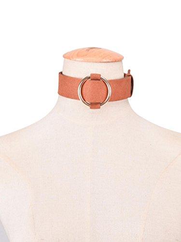 YAZILIND Punk Style de ceinture noire en velours Plaqué Argent Buckle Collar Collier ras du cou pour les femmes