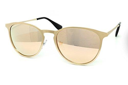 O2 Eyewear 532 Premium Retro Fashion Metal Frame Womens Mens mirrored Revo Aviator Sunglasses (Metal Frame, ROSE - Lenses Rb3183