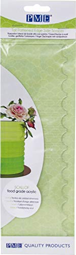 - PME PS64 Tall Patterned Edge Side Scraper for Cake Decorating-Scallop, 10 in in, Transparent