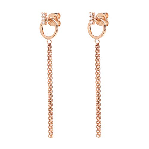COODI Jewelry 14K Solid Gold Bar 0.10 CTW Diamond Stud with Open Circle Drop Dangle Wedding Engagement Bridal Earrings (Rose Gold)
