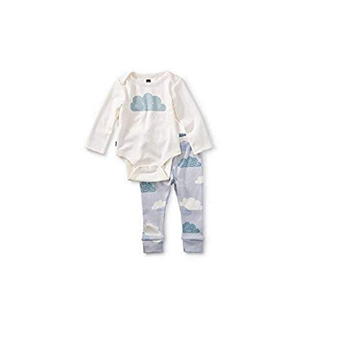 (Tea Collection 2-Piece Bodysuit Baby Outfit, Chalk, Cloud Design with White Top and Blue Pants (3-6 Months))