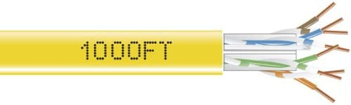 Box Black Box 1,000Ft CAT6 Solid Bulk Cable 550-MHZ UTP Yellow CMR PVC