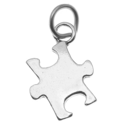 Autism Puzzle Piece Charm - Beadaholique Sterling Silver Autism Awareness Puzzle Piece Charm Pendant (1)