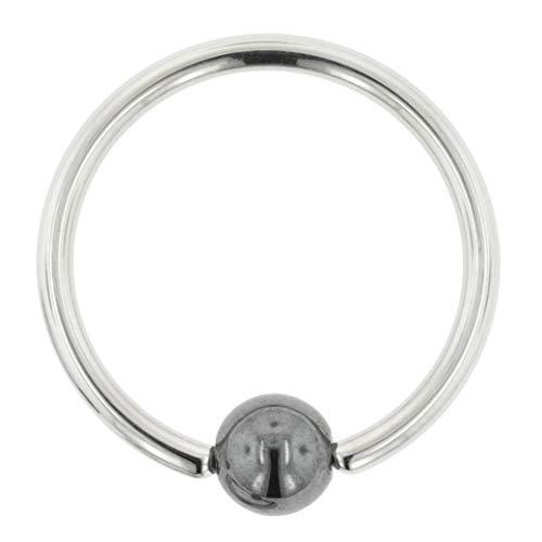 Stainless Steel Captive Bead Ring with Hematite Bead: 12g, Inner Diameter: 1/2