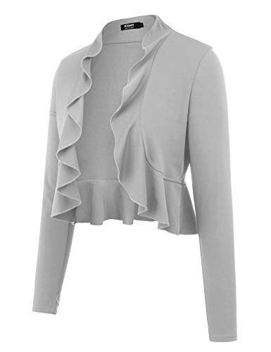bosbary Women's Open Front Cropped Cardigan Long Sleeve Casual Shrugs Jacket Draped Ruffles Lightweight Sweaters Gray L (Sweater Boots Dresses)