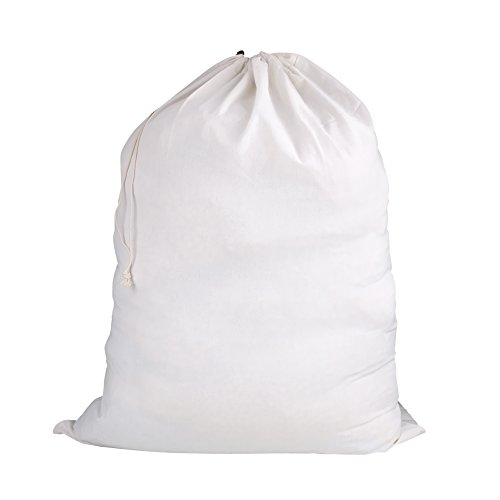 Plain and simple, white cloth laundry bag in a drawstring style.