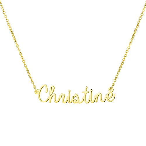 Yiyang Birthday Jewelry for Woemn Personalized Name Necklace 18K Gold Plated Stainless Steel Graduation Gift for Girls Christine