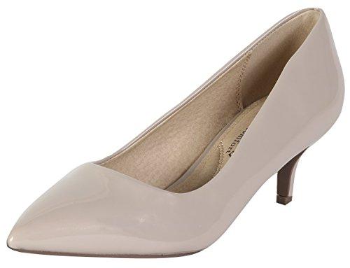City Classified by Soda Women's Hailey Dress Pointd Toe Kitten Heel Pumps (6 B(M) US, Dark Beige Patent)