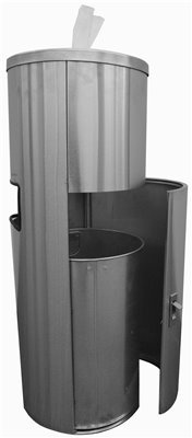 Renown REN05168 Stainless Steel Dispenser and Trash Receptacle for Facility and Gym Wipe Rolls, 13.25'' Wide, 35.5'' Diameter, English, Plastic, 249.28 fl. oz., 35.75'' x 15'' x 13.25''