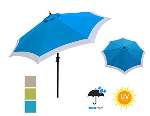 - APEX GARDEN Dual Color 9 ft 8 Ribs Outdoor Patio Table Market Umbrella Push Button Tilt and Crank Lift, Horizon Blue