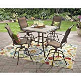 Mainstays Wesley Creek 5-Piece Counter Heights Dining Set, Brown