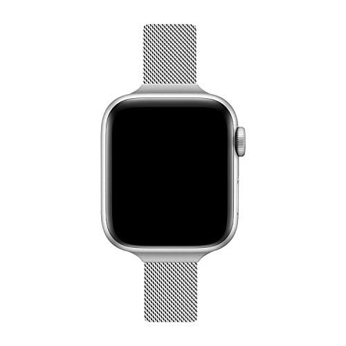 TRA Metal Slim Band Compatible for Apple Watch Band 38mm 40mm 42mm 44mm, Stainless Steel Mesh Adjustable Replacement Thin Wristband for iWatch Series 5/4/3/2/1 Women & Men (Silver/Colorful, 38mm/40mm)