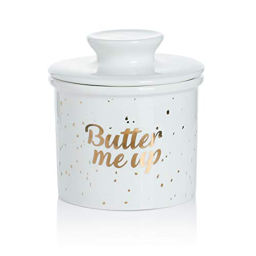 Sweese 3118 Porcelain Butter Keeper Crock - French Butter Dish - No More Hard Butter - Perfect Spreadable Consistency, Butter Me Up ()