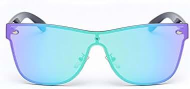 GAMT Rimless Wayfarer Sunglasses Futuristic Shield Mirrored Design