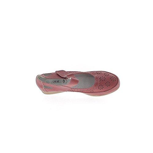 Ballerines cuir grande taille rouges confortables talons compensés de 3,5cm