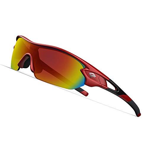 TOREGE Polarized Sports Sunglasses with 3 Interchangeable Lenes for Men Women Cycling Running Driving Fishing Golf Baseball Glasses TR02 (Red&Black&Orange Lens)