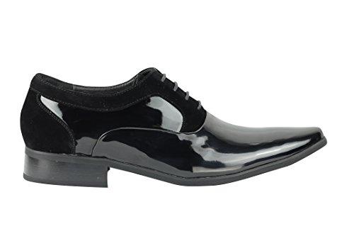 Xposed - Zapatos Planos con Cordones hombre negro (black patent)