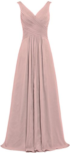 ANTS Women's V Neck Sleeveless Long Bridesmaid Dresses Chiffon Gowns Size 18W US Blush