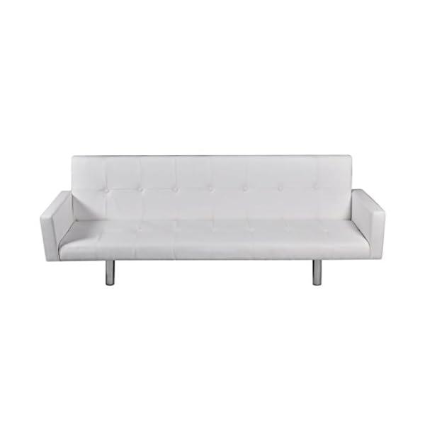 vidaXL Canapé-lit Accoudoir Similicuir Blanc Salon Salle Séjour Clic Clac Sofa