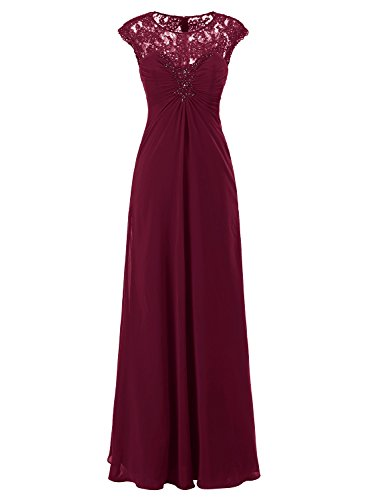 ALAGIRLS Womens Lace Appique Long Prom Dresses Chiffon Beading Eevning Party Gowns Burgundy US20Plus