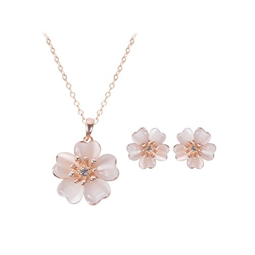 [KAVANI Light Pink Stone Simple Flower Style with Crystal pendant Jewelry set Necklace Earrings for Women] (Stone Pendant Earrings)