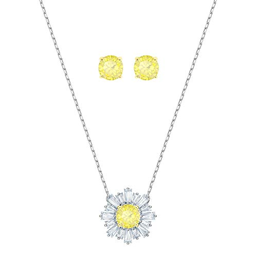 Swarovski Crystal Yellow Sunshine Necklace and Earring Set Crystal Daisy Necklace Earrings