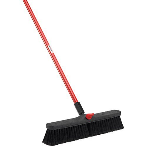 LIBMAN Push Broom with Resin Block - 18'' - Fine-Duty Bristles - Lot of 4