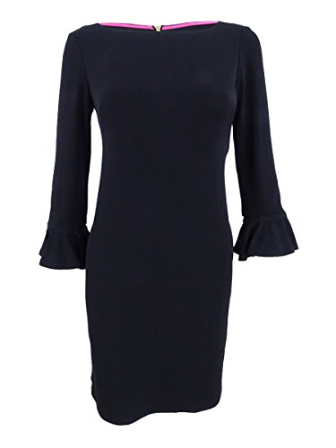 Jessica Howard Womens Petites Flutter Bell-Sleeves Cocktail Dress Black 8P