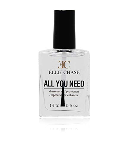Ellie Chase 2 in 1 Top Coat & Base Coat 0.5 oz - Enhances Color, Shine Finish, Protects Nails, Prolongs Wear, Smoothes Imperfections, NO toluene, NO formaldehyde, NO DBA