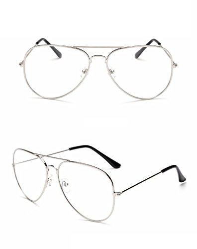 2017 New M.L.E. N.Y.C. Round Eye Non-Prescription Premium Women Fashion Clear Aviator Unisex Sunglasses Glasses Silver Metal Lens - Colourful Sunglasses Wayfarer