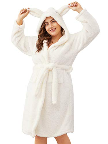 - DIDK Women's Cute Plus Size Rabbit Hooded Wrap Self Belted Fluffy Robe Nightgown White 2XL