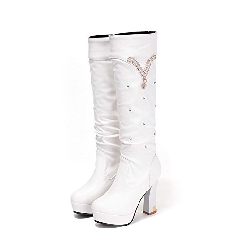 Heels Round Boots Top Solid Women's High Mid Toe White Closed Allhqfashion XHF5qO