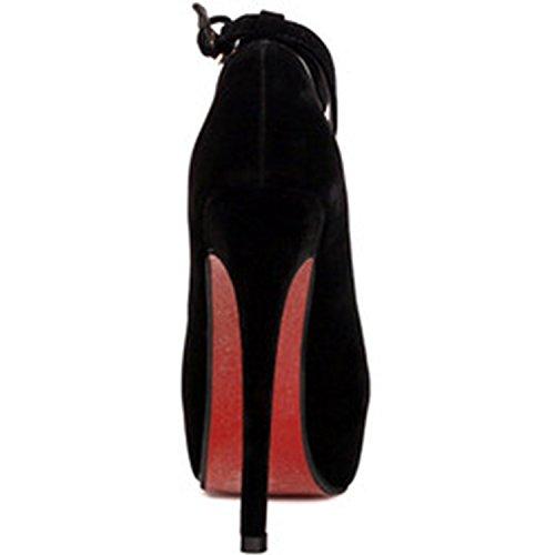 Azbro Mujer Zapatos de Fiesta Tacón Alto Tacón de Aguja Correa-Tobillo de Moda Plataforma Negro