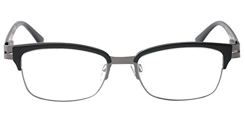 SOOLALA Brand New Mens Vintage Half Framed Clubmaster Reading Glass with Pouch, Black, 1.75