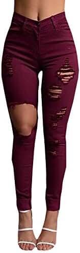 Baifern Women's Skinny Distressed Destroyed Hole Long Denim Trousers