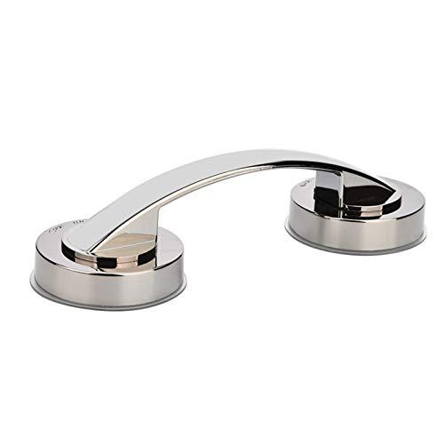 RedSonics - Silver Bath Safety Handle Suction Cup Handrail Grab Bathroom Grip Tub Shower Bar Rail Wall Mounted Door Handle Knob