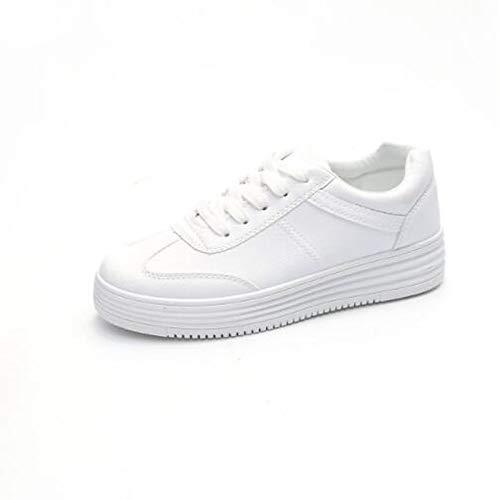 ZHZNVX Sneakers Blanca Verano marrón Comfort Zapatos con Poliuretano Flat Mujer Punta Heel Cerrado Primavera Brown de PU rAxr4f