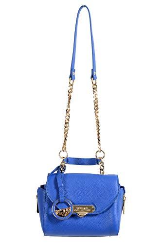 Versace Leather Shoulder Bag - Versace Collection Women's Blue Pebbled Leather Handbag Shoulder Bag