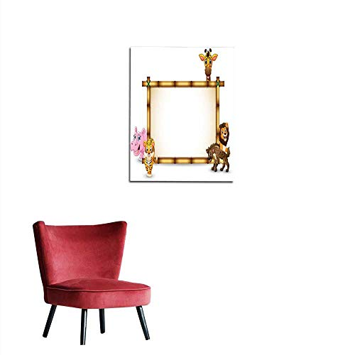 longbuyer Photographic Wallpaper The Animals Playing Together with Bamboo Frame Mural 32