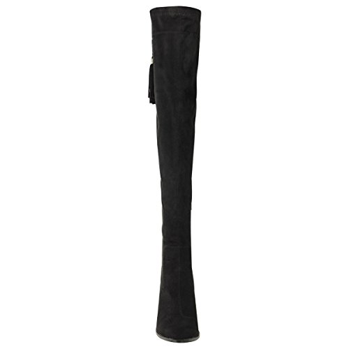 Mode Dorstige Dames Dijhoge Laarzen Over De Knie Blokhielen Kwastje Stretch Maat Zwart Faux Suede