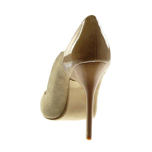 Stiletto Angkorly Chaussure Aiguille Mode Femme cm Beige Haut Verni Talon Escarpin 11 TZftwRxfq