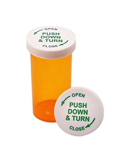 Pharmacy Prescription Vials with Child Resistant Push Down and Turn Caps (13 DRAM, 12 PCS) (Pharmacy Vial)