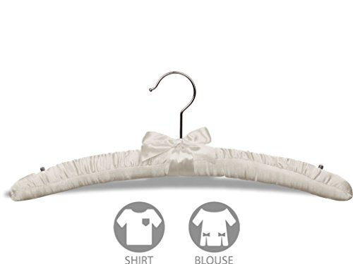 Ivory Satin Top Hanger, Box of 100 Padded Wood Hangers with Chrome Swivel Hook & Studs for Shoulder Straps, a Soft Choice for Delicate Garments by The Great American Hanger Company by The Great American Hanger Company