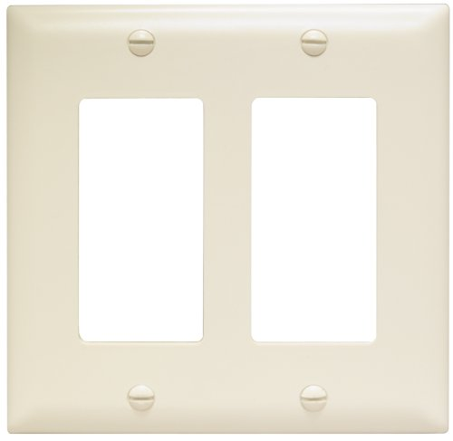 - Legrand - Pass & Seymour TP262LACC30 Trade Master Nylon Wall Plate with Two Decorator Openings, Two Gang, Light Almond