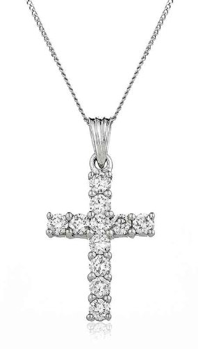 1CT Certified G/VS2 Round Brilliant Cut Claw Set Diamond Cross Pendant in 18K White Gold
