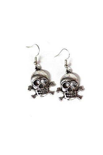 Large Skull & Crossbones Silver Toned Dangle Earrings (2)