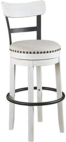 (Ashley Furniture Signature Design - Valebeck Tall Upholstered Swivel Barstool - Casual Style - White)