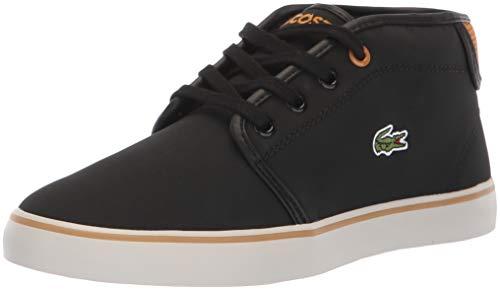 Lacoste Unisex Ampthill Sneaker, Black/Dark tan, 12. Medium US Little Kid (Lacoste For Kids Boys Shoes)
