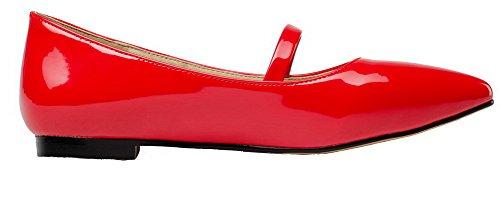 Sólido zapatos mujer cerrada Sujetado redonda para de corte punta cordones rojos con punta VogueZone009 FxwBTqF